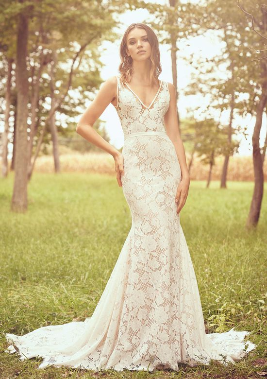 Lillian West Style 66073 Allover Lace Fit and Flare Gown