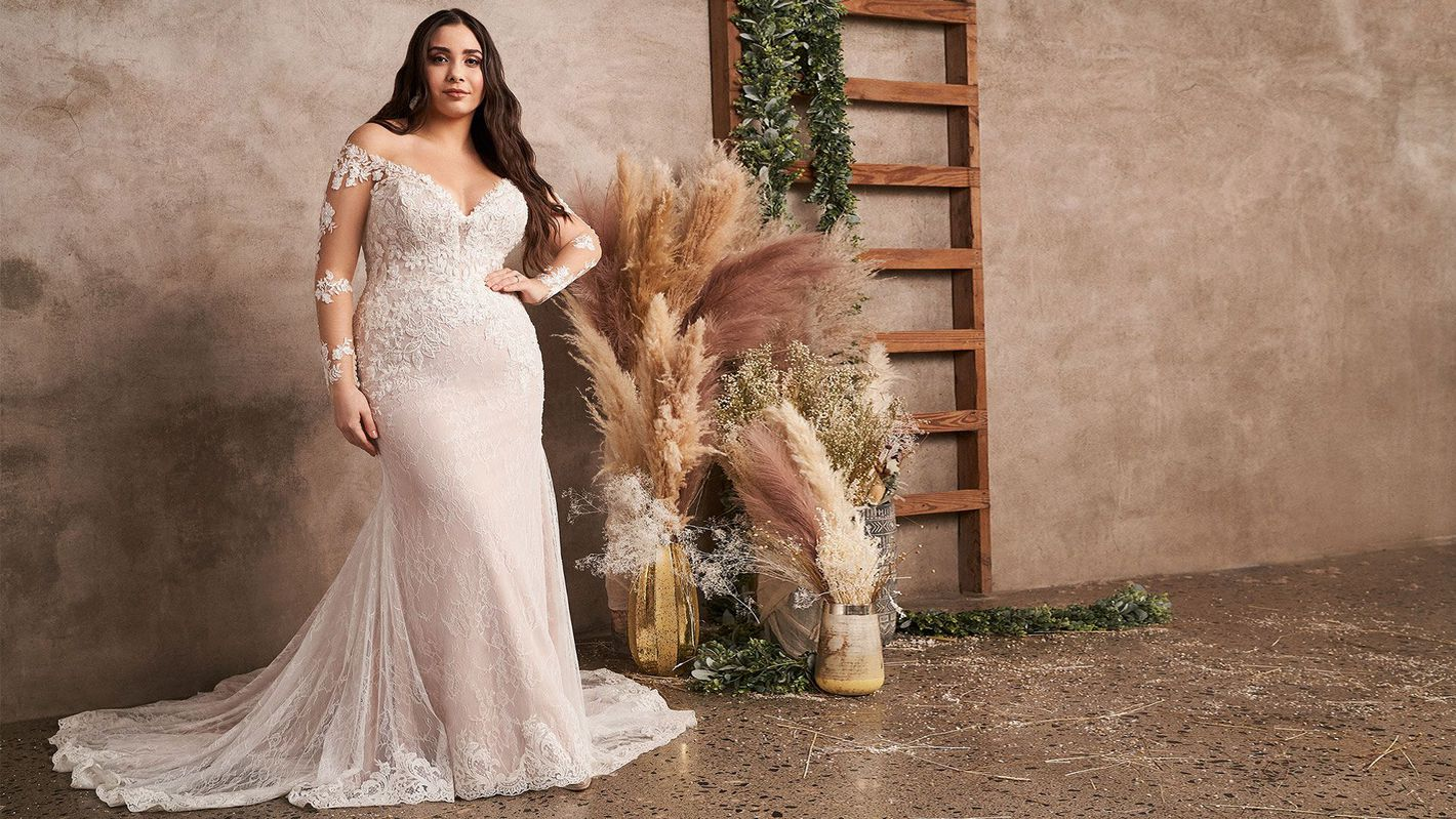 - Style 66129PS: Off the Shoulder Plus Size Fit and Flare Dress with Long Sleeves