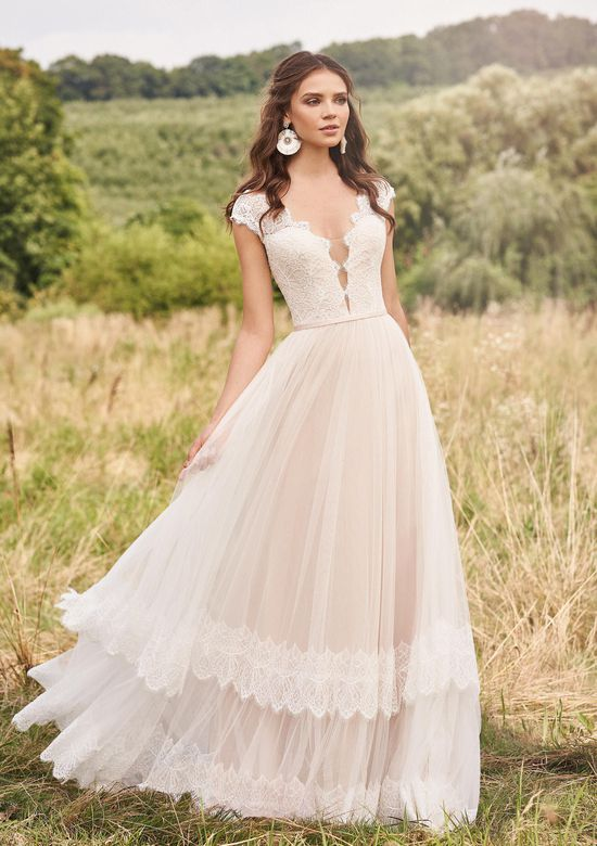 Lillian West Style 66139 A-Line Gown with Plunge and Tiered Chantilly Lace Skirt Detail