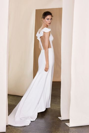 Justin Alexander Signature Style 99093 Poppy Stretch Crepe Gown with Flutter Sleeves