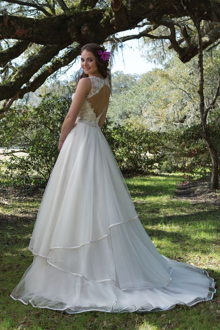 Sweetheart Gowns Style 6175 Tulle Ball Gown with Sequined Appliques and Keyhole Back