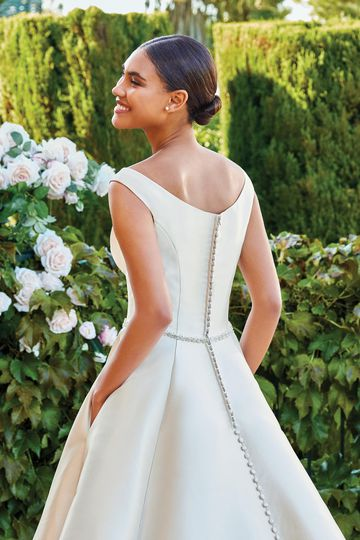 Sincerity Bridal Style 44220 Portrait Neckline Mikado Ball Gown with Beaded Waist and Pockets