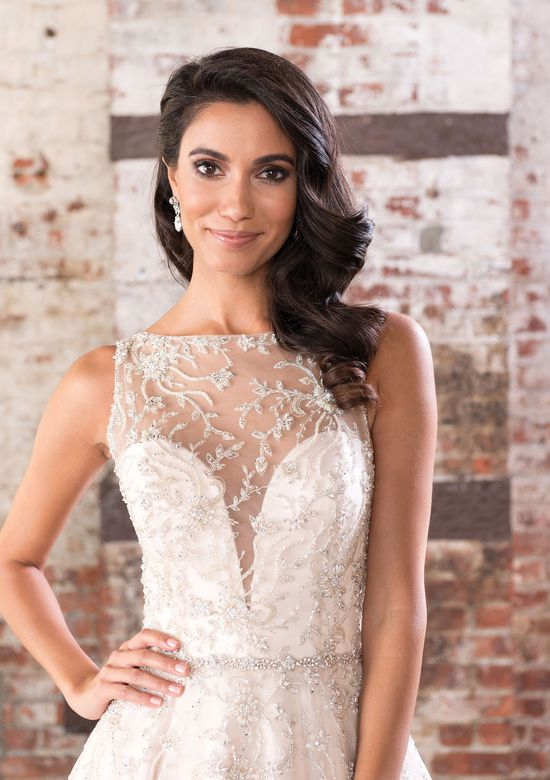 Justin Alexander Signature Style 9848 Beaded Illusion Sabrina Neckline over Metallic Lace with Deep V-Back