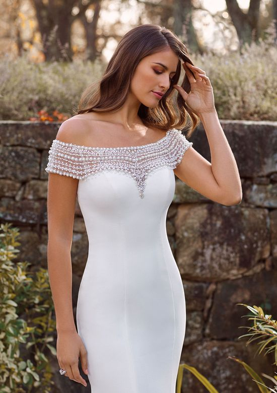 Justin Alexander Style 88150 Althea Crepe Fit and Flare Gown with  Beaded Off the Shoulder Neckline