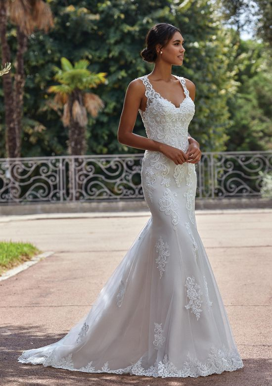 Sincerity Bridal Style 44142 Open V-Neckline with Straps Fit and Flare Dress