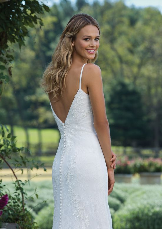 Sincerity Bridal Style 3980 Lace Fit and Flare Gown with Spaghetti Straps and Deep V-Back