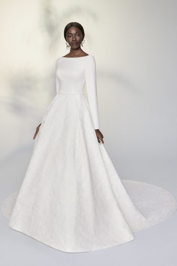 Justin Alexander Signature Style 99203 Leanne Long Sleeve Ball Gown with Organza Jacquard Skirt