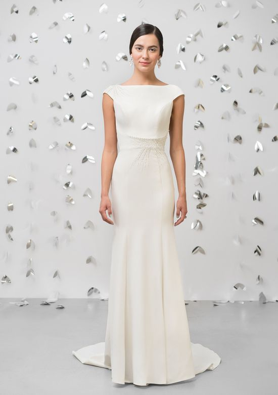 Justin Alexander Signature Style 99000 Crepe Fit and Flare Gown with Starburst Beading