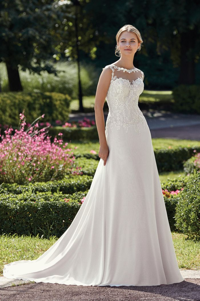 Sincerity Bridal Style 44145D Illusion Sabrina A-Line Gown