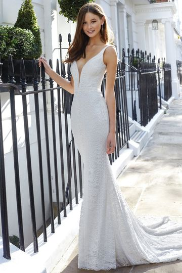 Adore by Justin Alexander Style 11130 Allover Corded Lace Fit and Flare Dress with Illusion Plunge