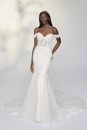 Justin Alexander Signature Style 99202 Maude Off the Shoulder Fit and Flare Gown with 3D Floral Appliqués