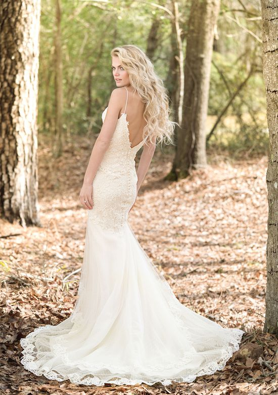 Lillian West Style 6460 Fit and Flare Allover Lace Gown with Deep V-Neck and Back