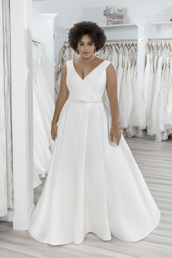 Sincerity Bridal Style 44220PS Plus Size Mikado Ball Gown with Pockets and Beaded Belt