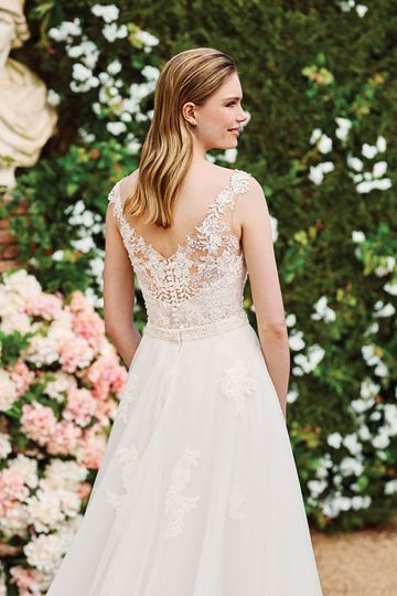 Sincerity Bridal Style 44177 V-Neckline Lace and Chiffon Gown with Detachable Tulle Skirt