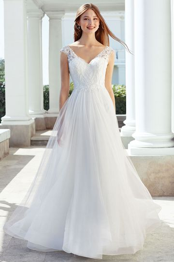 Adore by Justin Alexander Style 11124 English Net A-Line with Beaded Lace Bodice and Horsehair Hem