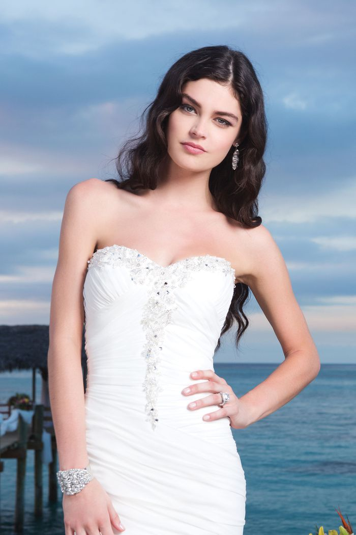 Sincerity Bridal Style 3780 Chiffon mermaid dress accentuated by a sweetheart neckline
