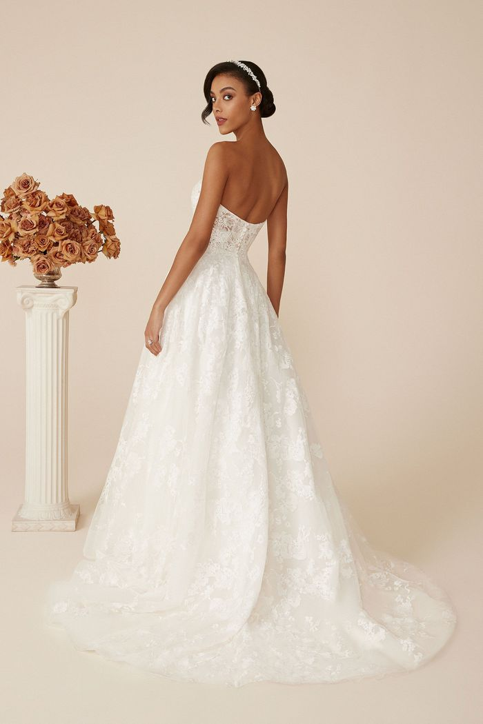 Justin Alexander Style 88142 Addison Sweetheart Ball Gown with Embroidered and Chantilly Lace