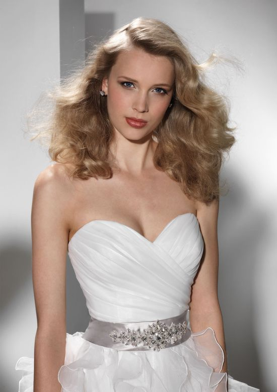 Justin Alexander Signature Style 9693 Organza ball gown accentuated by a sweetheart neckline
