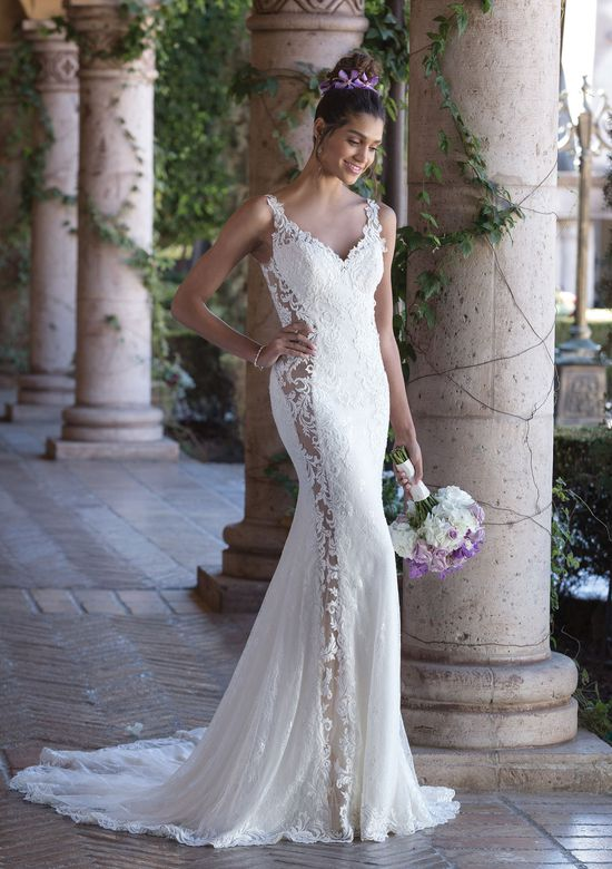 Sincerity Bridal Style 4011 Fit and Flare Gown with Vertical Illusion Seams