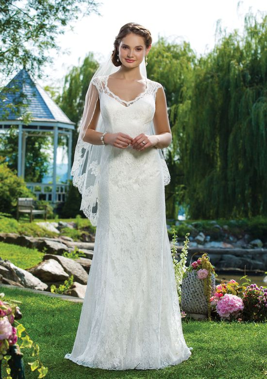Sweetheart Gowns Style 6101 Chantilly Lace, Tulle, and Satin Straight Wedding Dress with Queen Anne Neckline