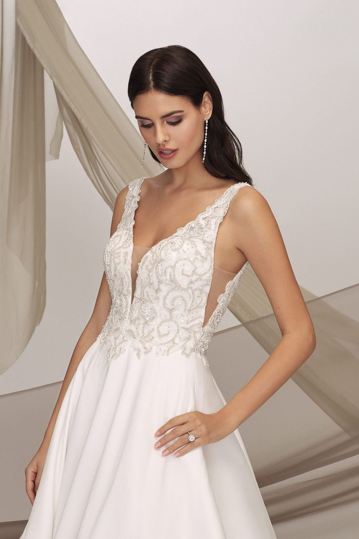 Justin Alexander Signature Style 99135 GREENWICH Beaded Mikado Ball Gown with Side Cutouts and Pockets