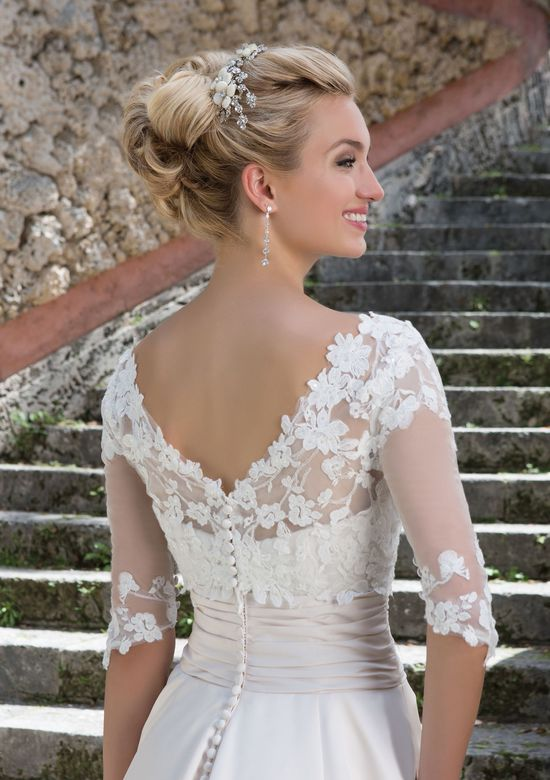 Sincerity Bridal Satin Ball Gown with Pockets and Illusion Sabrina Neckline