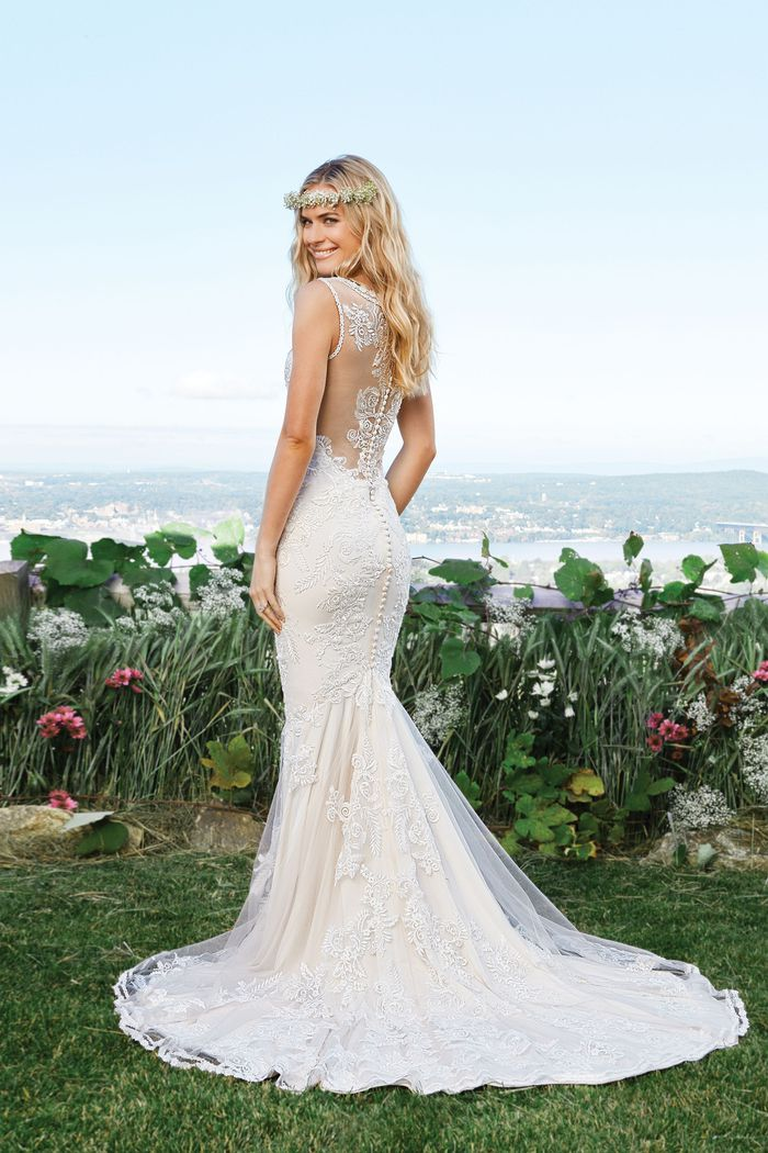 Lillian West Lace Mermaid Gown with Illusion Neckline and Back