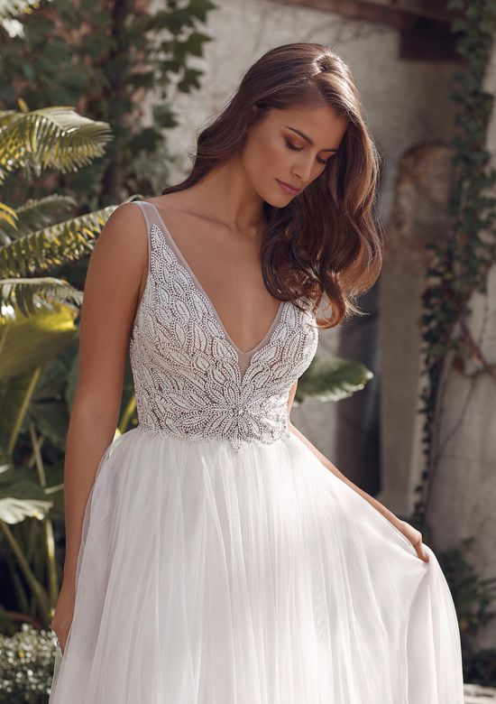 Justin Alexander Style 88162 Audrianna A-Line Gown with Fully Beaded Deep V-Neck and English Net Skirt