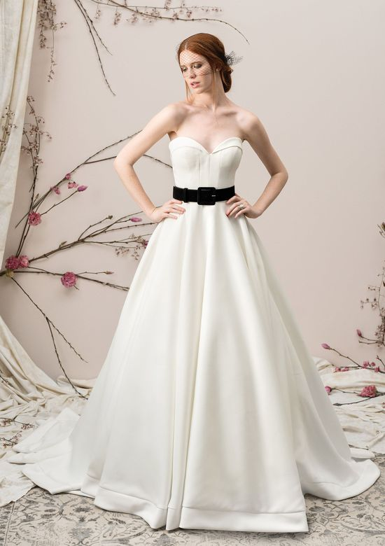Justin Alexander Signature Style 9904 Satin Ball Gown with Folded Collar Sweetheart Neckline
