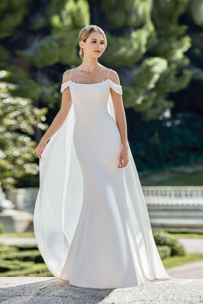 Sincerity style 44129DT Draped Chiffon Detachable Train
