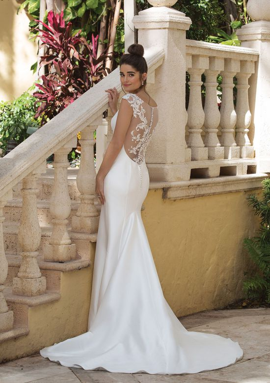 Sincerity style 44081 Fit and Flare Gown with a Low Illusion Lace Back