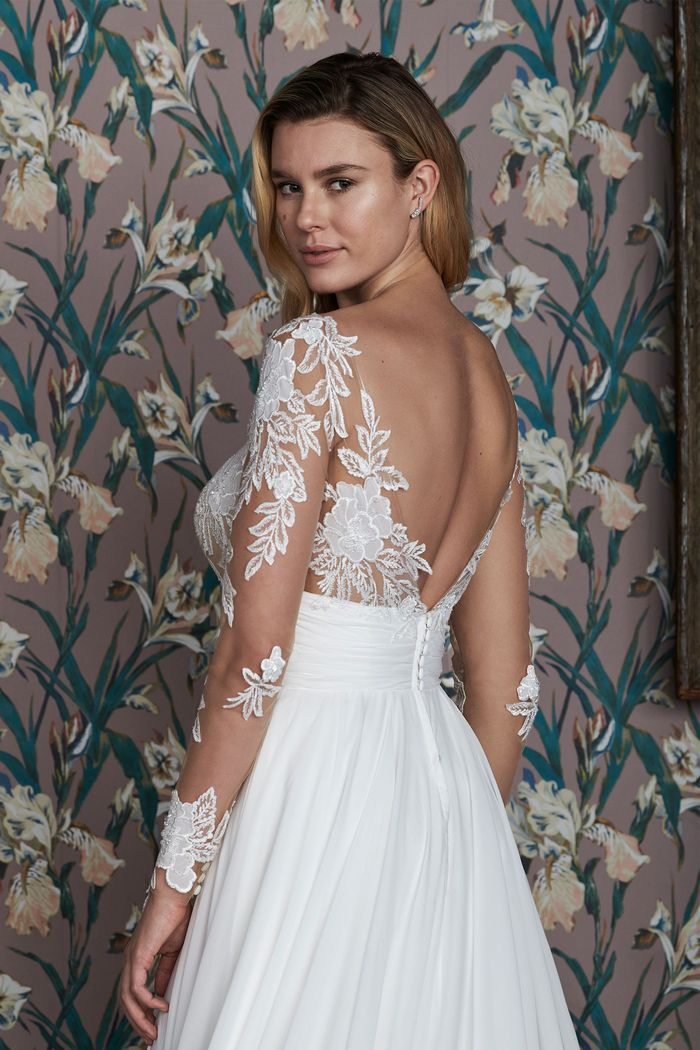 Justin Alexander Signature Style 99141 ADDERLEY Long Sleeve A-Line Gown with Asymmetrical Ruched Cummerbund