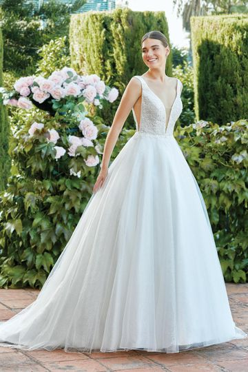 Sincerity Bridal Style 44197 Sparkle Tulle Ball Gown with Illusion Plunge