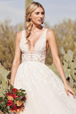 Lillian West Style 66155 Plunging V-Neck A-Line Dress with Illusion Bodice and Low Back