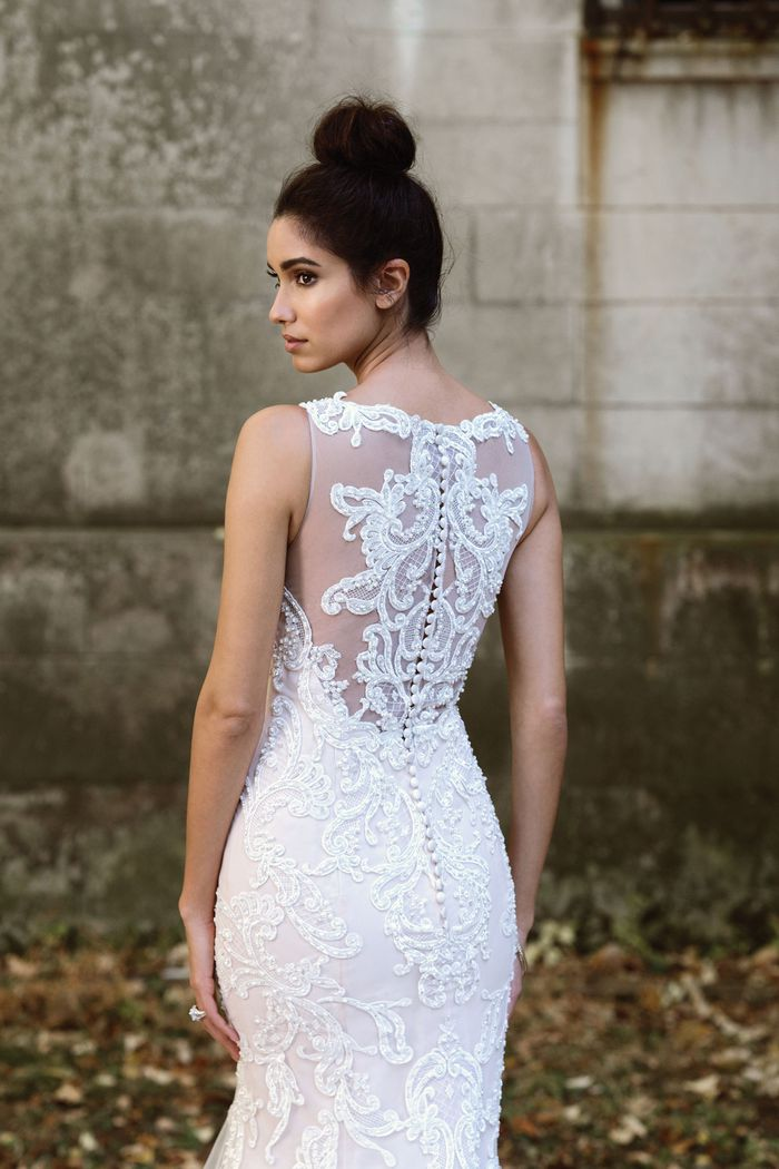 Justin Alexander Signature Hand-Placed Lace Gown with Illusion Back
