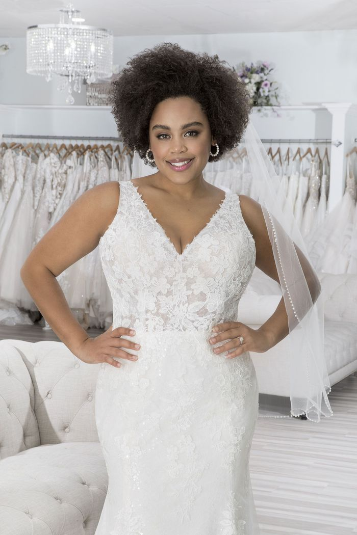 Sincerity Bridal Style 44199PS Plus Size Sequin Lace Fit and Flare Dress with V-Neckline