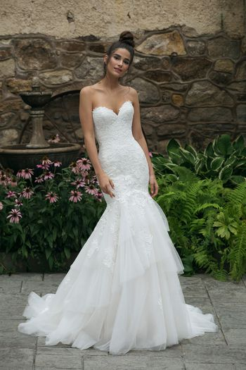 Sincerity Bridal Style 44060 Lace Sweetheart Bodice with Tiered Trumpet Skirt