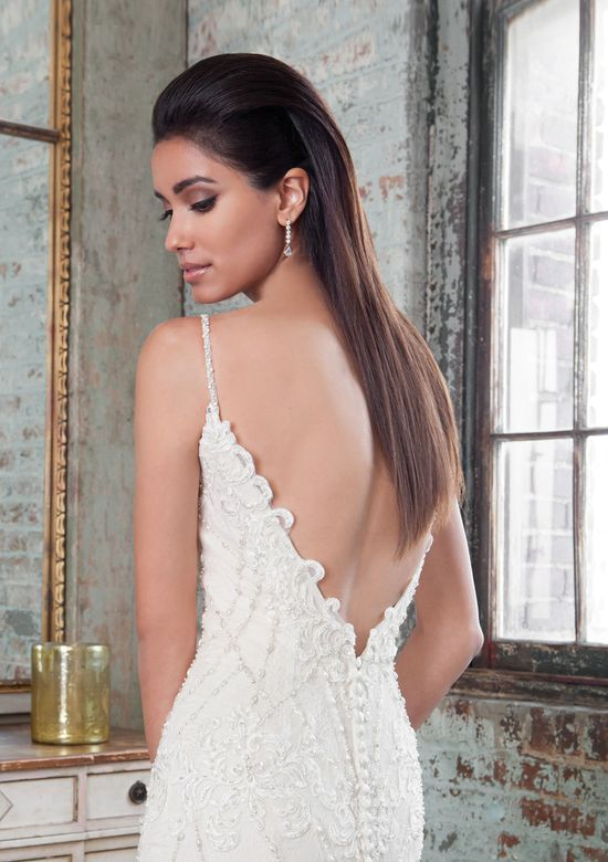 Justin Alexander Signature  Geometric Hand Beaded Bridal Gown with Plunging Back