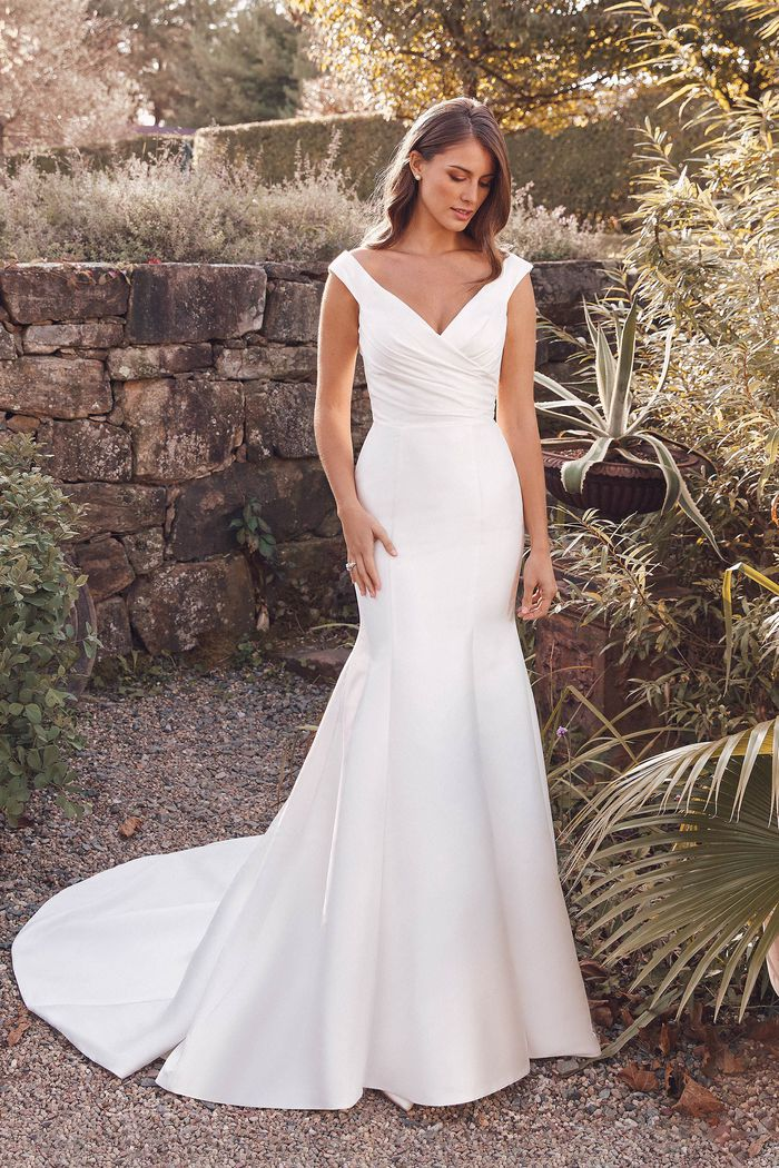 Justin Alexander Style 88148 Anastasia Off the Shoulder Mikado Trumpet Gown with Pleated Bodice