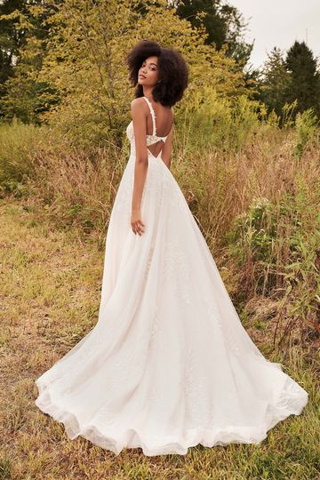 Lillian West Style 66198 Beaded Slim Ball Gown with Plunging V-Neck and Low Keyhole Detail