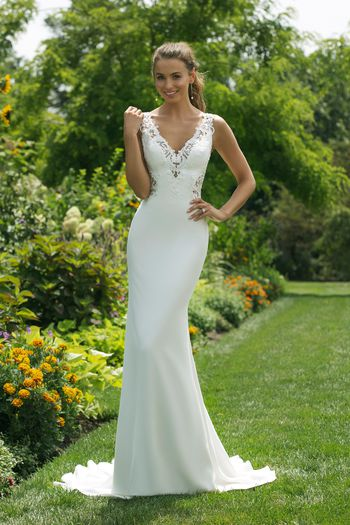 Sweetheart Gowns Style 11023 V-Neck Straight Gown with Double Key Hole Back