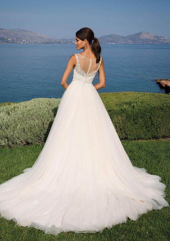 Justin Alexander Style 8886 Beaded Bodice with Illusion V-Neckline and Tulle Skirt