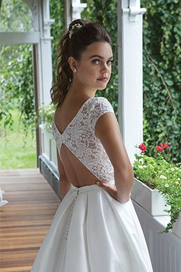 Sweetheart style 11065 Embroidered Lace Neckline Dress with Box Pleats