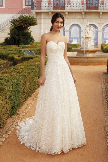 Sincerity Bridal Style 44256 Sweetheart Ball Gown with Textured Floral Motif Glitter Tulle