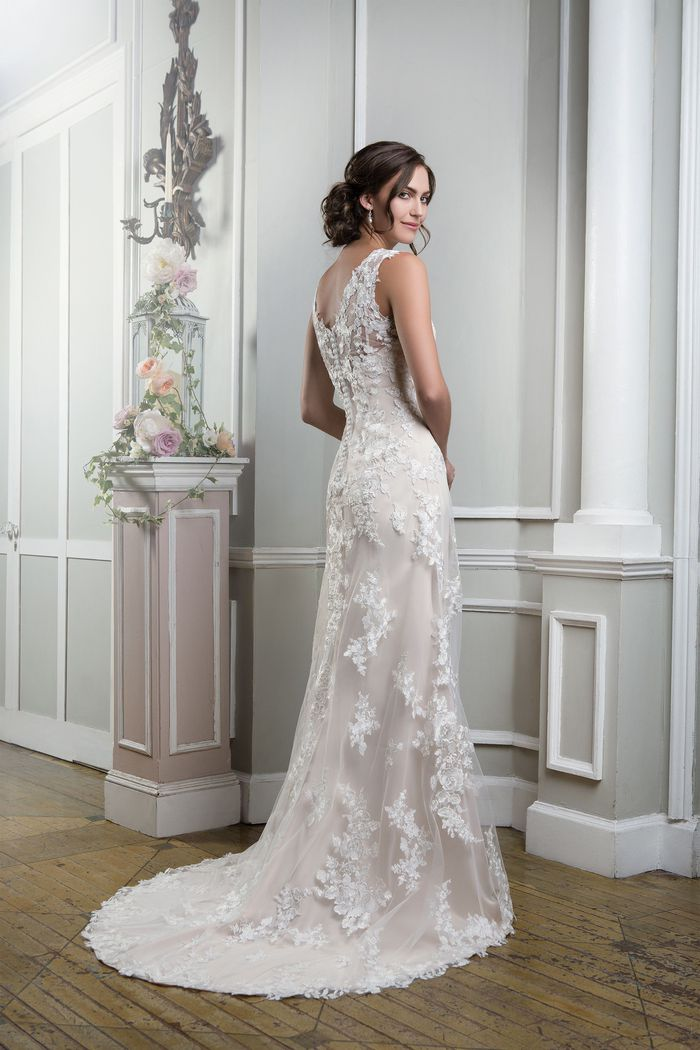 Lillian West Style 6385 Embroidered Lace Fit and Flare Gown with a Sabrina Neckline