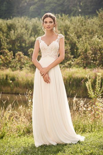 Lillian West Style 66132 Chiffon Skirt A-Line Dress with Empire Waist and Cap Sleeves