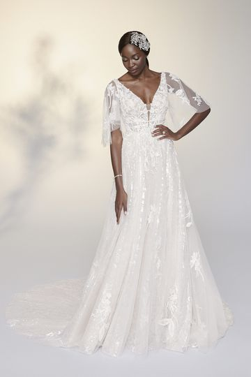 Justin Alexander Signature Style 99208SL Yvonne Sleeves Tulle Flutter Sleeves Embellished with Beaded Appliqués