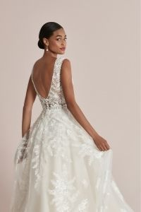 Justin Alexander Style 88217 Cassia A-Line Dress Adorned with Hand Beaded Embroidered Appliqués