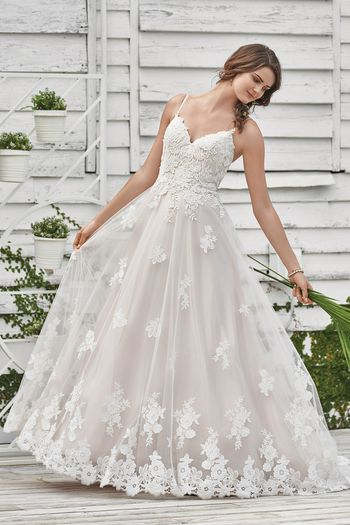Lillian West Style 66045 Spaghetti Strap Gown with Floral Lace Appliques