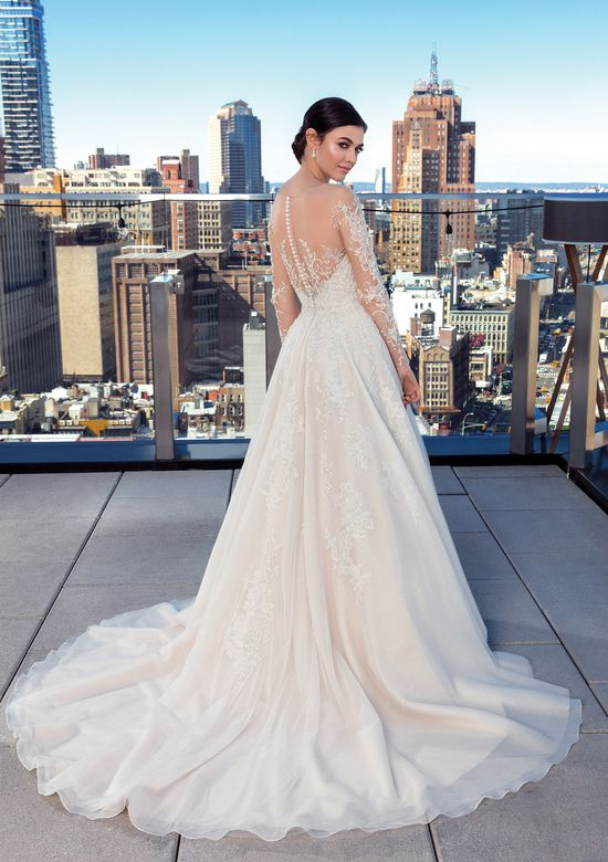 Justin Alexander Signature Style 99029 Illusion Beaded Sabrina Long Sleeve Dress